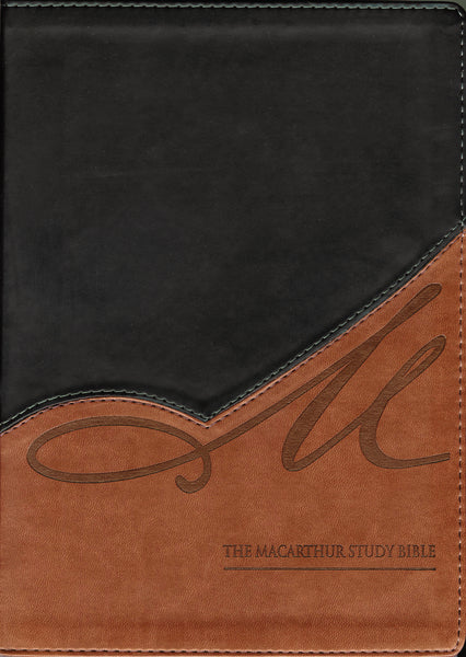NKJV, The MacArthur Study Bible, Leathersoft, Black/Tan