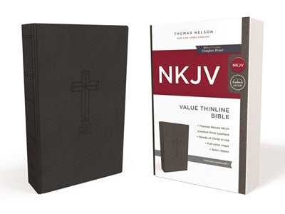NKJV, Value Thinline Bible, Standard Print, Leathersoft, Black, Red Letter Edition, Comfort Print