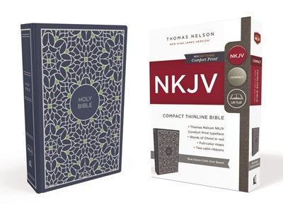 NKJV, Thinline Bible, Compact, Cloth over Board, Blue/Green, Red Letter Edition, Comfort Print