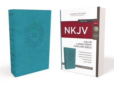 NKJV, Value Thinline Bible, Large Print, Leathersoft, Blue, Red Letter Edition, Comfort Print