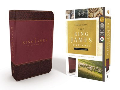 KJV, The King James Study Bible, Leathersoft, Burgundy, Red Letter, Full-Color Edition
