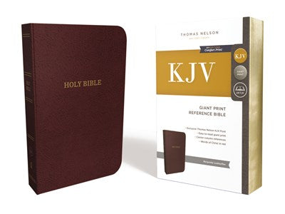 KJV, Reference Bible, Center-Column Giant Print, Leather-Look, Burgundy, Red Letter Edition, Comfort Print