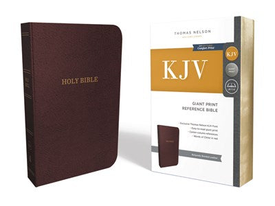 KJV, Reference Bible, Center-Column Giant Print, Bonded Leather, Burgundy, Red Letter Edition, Comfort Print