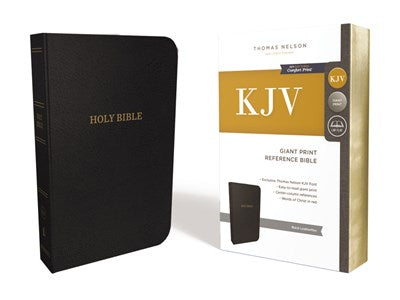 KJV, Deluxe Reference Bible, Center-Column Giant Print, Leathersoft, Black, Red Letter Edition, Comfort Print