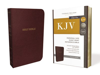 KJV, Reference Bible, Personal Size Giant Print, Leather-Look, Burgundy, Red Letter Edition, Comfort Print