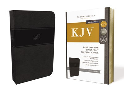 KJV, Reference Bible, Personal Size Giant Print, Leathersoft, Black, Red Letter Edition, Comfort Print