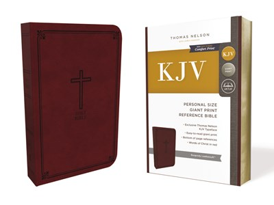 KJV, Reference Bible, Personal Size Giant Print, Leathersoft, Burgundy, Red Letter Edition, Comfort Print