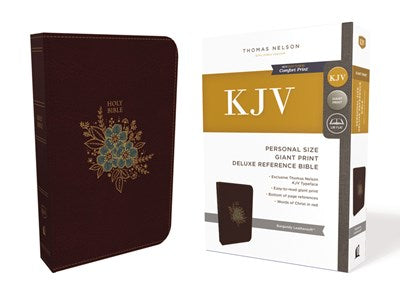KJV, Deluxe Reference Bible, Personal Size Giant Print, Leathersoft, Burgundy, Red Letter Edition, Comfort Print