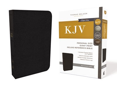 KJV, Deluxe Reference Bible, Personal Size Giant Print, Genuine Leather, Black, Red Letter Edition, Comfort Print