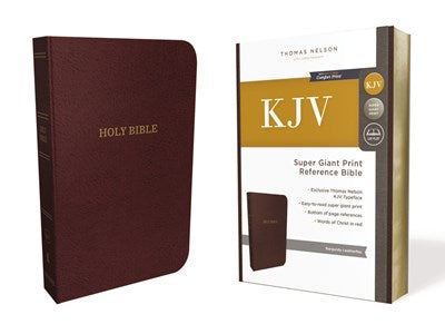 KJV, Reference Bible, Super Giant Print, Leather-Look, Burgundy, Red Letter Edition, Comfort Print