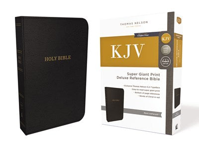 KJV, Deluxe Reference Bible, Super Giant Print, Leathersoft, Black, Red Letter Edition, Comfort Print