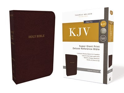 KJV, Deluxe Reference Bible, Super Giant Print, Leathersoft, Burgundy, Red Letter Edition, Comfort Print