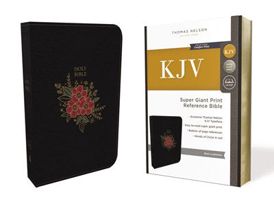 KJV, Deluxe Reference Bible, Super Giant Print, Leathersoft, Black, Indexed, Red Letter Edition, Comfort Print