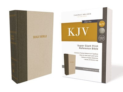 KJV, Reference Bible, Super Giant Print, Hardcover, Green/Tan, Red Letter Edition, Comfort Print