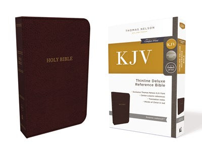 KJV, Deluxe Thinline Reference Bible, Leathersoft, Burgundy, Thumb Indexed, Red Letter Edition, Comfort Print
