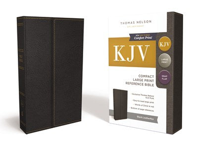 KJV, Reference Bible, Compact, Large Print, Snapflap Leather-Look, Black, Red Letter Edition, Comfort Print