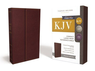 KJV, Reference Bible, Compact, Large Print, Snapflap Leather-Look, Burgundy, Red Letter Edition, Comfort Print