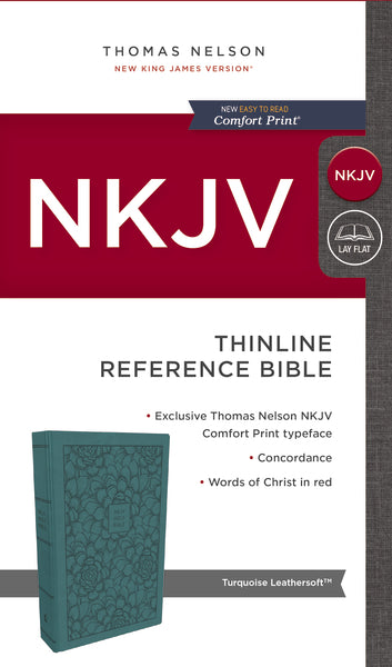 NKJV, Thinline Reference Bible, Leathersoft, Turquoise, Red Letter Edition, Comfort Print