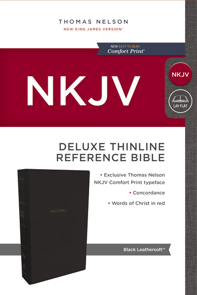 NKJV, Deluxe Thinline Reference Bible, Leathersoft, Black, Red Letter Edition, Comfort Print