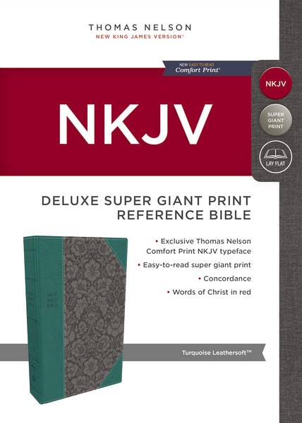 NKJV, Deluxe Reference Bible, Super Giant Print, Leathersoft, Green, Red Letter Edition, Comfort Print