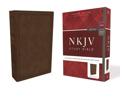 NKJV Study Bible, Leathersoft, Brown, Comfort Print