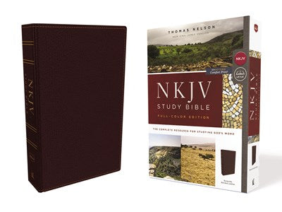 NKJV Study Bible, Bonded Leather, Burgundy, Full-Color, Comfort Print