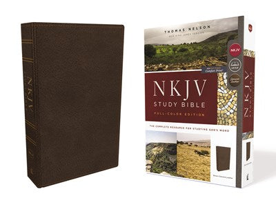 NKJV Study Bible, Premium Calfskin Leather, Brown, Full-Color, Comfort Print
