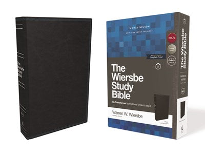 NKJV, Wiersbe Study Bible, Leathersoft, Black, Red Letter Edition, Comfort Print