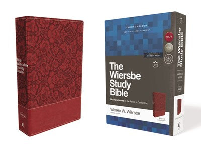 NKJV, Wiersbe Study Bible, Leathersoft, Burgundy, Red Letter Edition, Comfort Print