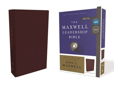 NIV, Maxwell Leadership Bible, 3rd Edition, Premium Bonded Leather, Burgundy, Comfort Print