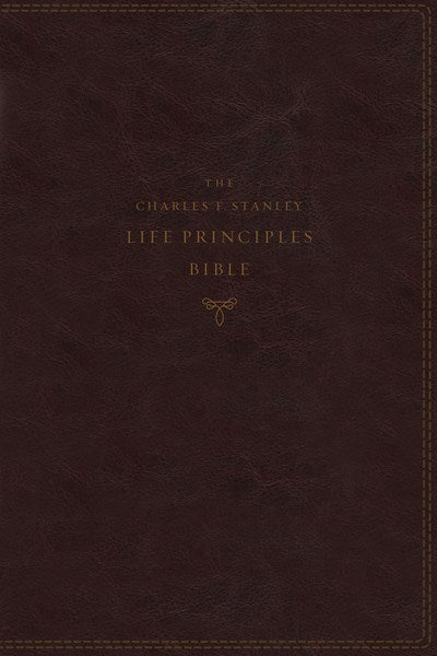 KJV, Charles F. Stanley Life Principles Bible, 2nd Edition, Leathersoft, Burgundy, Thumb Indexed, Comfort Print