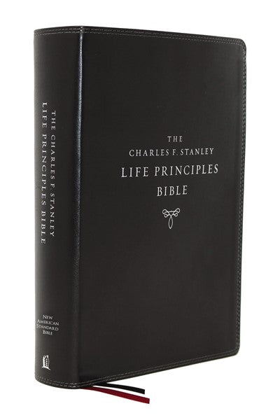 NASB, Charles F. Stanley Life Principles Bible, 2nd Edition, Leathersoft, Black, Thumb Indexed, Comfort Print