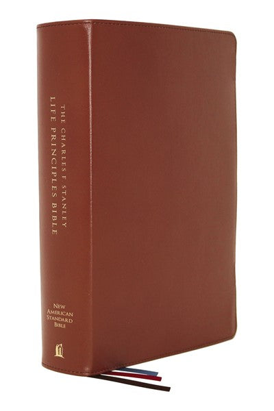 NASB, Charles F. Stanley Life Principles Bible, 2nd Edition, Genuine Leather, Brown, Thumb Indexed, Comfort Print