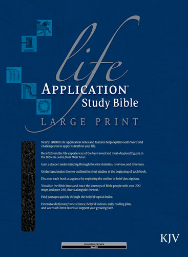 KJV Life Application Study Bible, Second Edition, Large Print (Red Letter, Bonded Leather, Black, Indexed)