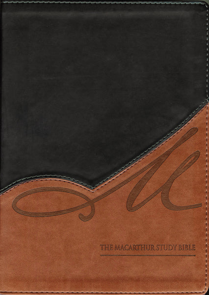 NKJV, The MacArthur Study Bible, Leathersoft, Black/Brown, Thumb Indexed