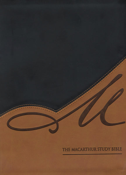 The NASB, MacArthur Study Bible, Leathersoft, Black/Tan, Thumb Indexed