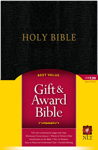 Gift and Award Bible NLT (Red Letter, Imitation Leather, Black)