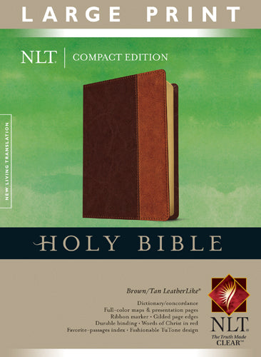 Compact Edition Bible NLT, Large Print, TuTone (Red Letter, LeatherLike, Brown/Tan)
