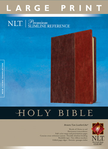 Premium Slimline Reference Bible NLT, Large Print, TuTone (Red Letter, LeatherLike, Brown/Tan)