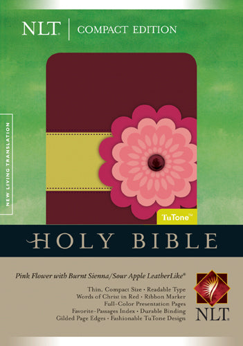 Compact Edition Bible NLT, TuTone (LeatherLike, Pink Flower w/Burnt Sienna/Sour Apple)