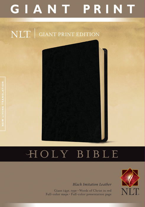 Holy Bible, Giant Print NLT (Red Letter, Imitation Leather, Black)