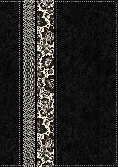NLT Parallel Study Bible, Floral TuTone (LeatherLike, Black/Ornate Floral Fabric)