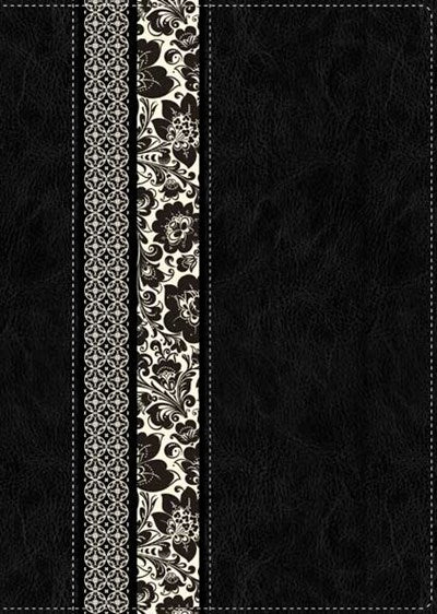 NLT Parallel Study Bible, Floral TuTone (LeatherLike, Black/Ornate Floral Fabric, Indexed)