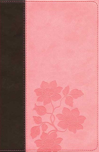 Slimline Center Column Reference Bible NLT, TuTone (Red Letter, LeatherLike, Dark Brown/Pink Flowers, Indexed)