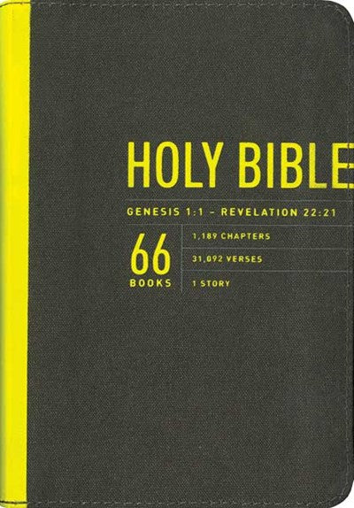 Zips Bible NLT (Canvas, Charcoal/Yellow)