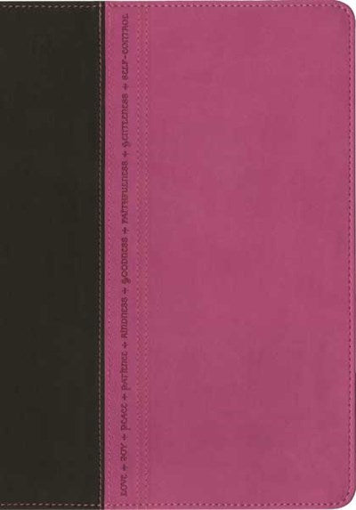 Premium Slimline Reference Bible NLT, Large Print, TuTone (LeatherLike, Pink/Brown)