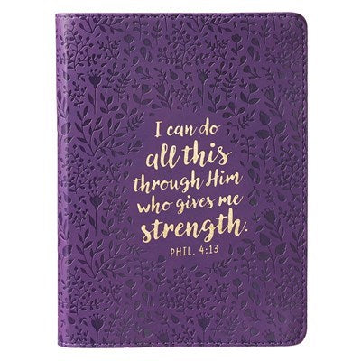 I Can Do All This Purple Handy-sized Faux Leather Journal - Philippians 4:13