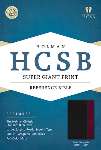 HCSB Super Giant Print Reference Bible, Black/Burgundy LeatherTouch
