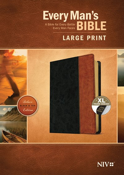Every Man's Bible NIV, Large Print, TuTone (LeatherLike, Black/Tan, Indexed)