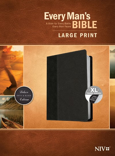 Every Man's Bible NIV, Large Print, TuTone (LeatherLike, Onyx/Black, Indexed)